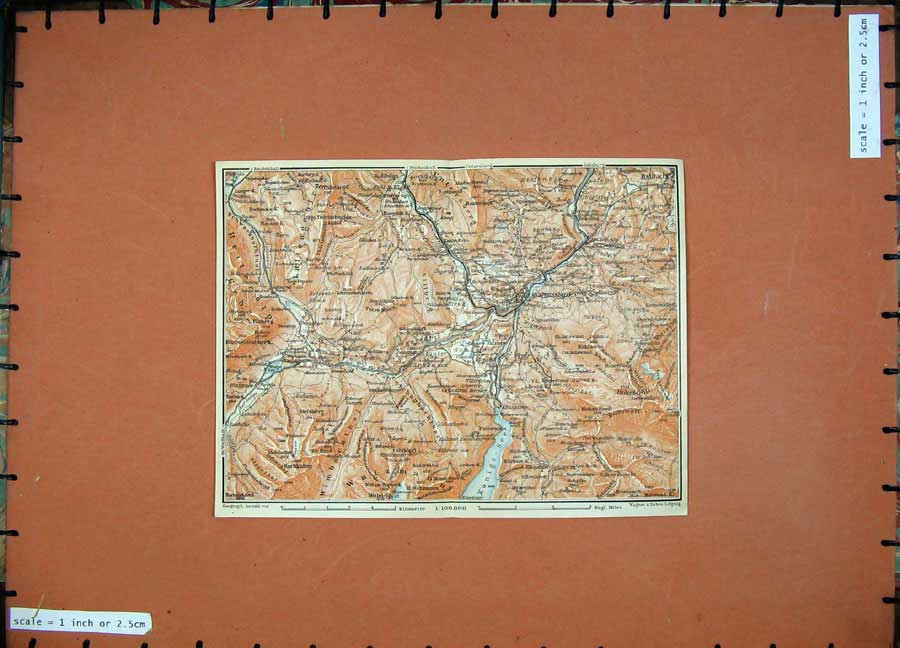 Print 1911 Colour Map Berchtesgaden Hallein Karl Baedeker 124D152 Old Original