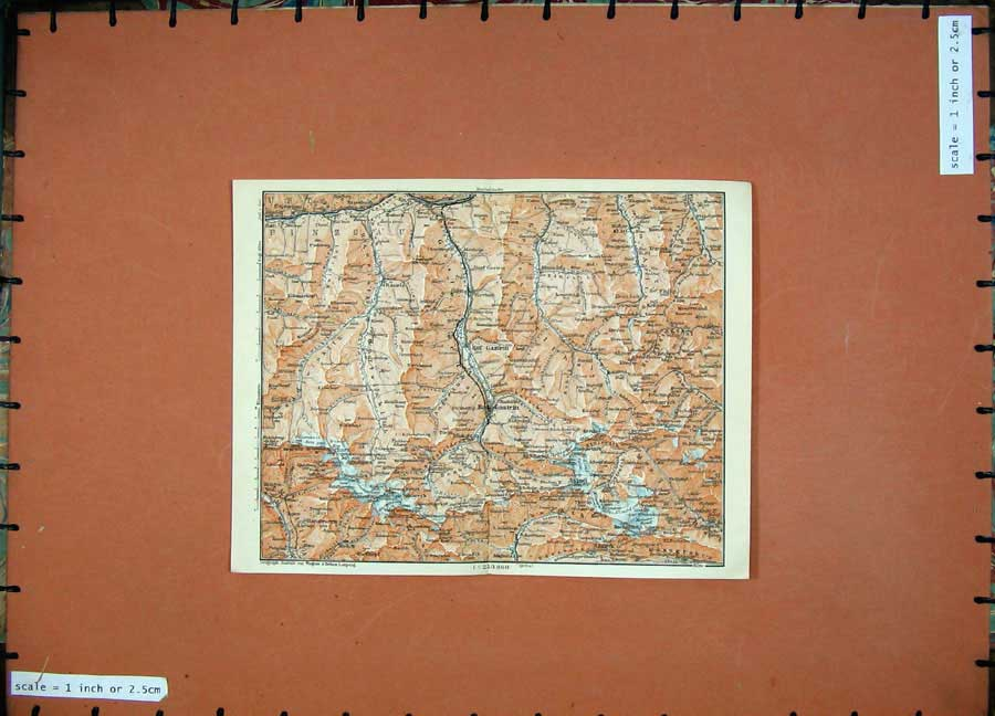 Print 1911 Colour Map Bad Gastein Karl Baedeker Atlas Rauris 129D152 Old Original