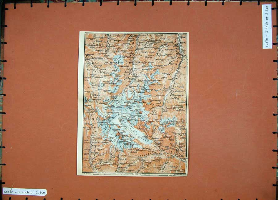 Print 1911 Colour Map Gr-Glockner Leiterthal Hocheiser Atlas 132D152 Old Original