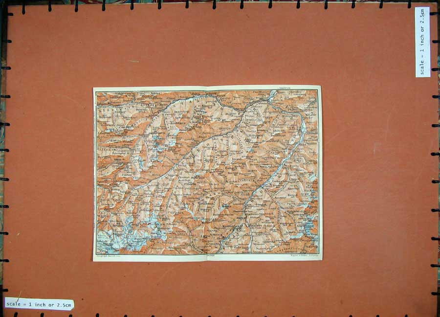 Print 1911 Colour Map Pruiz Piz Buin Atlas Baedeker 139D152 Old Original