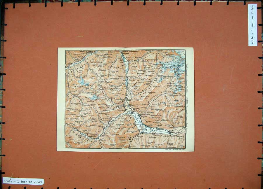 Print 1911 Colour Map Mals Glurns Laas Europe Atlas 141D152 Old Original