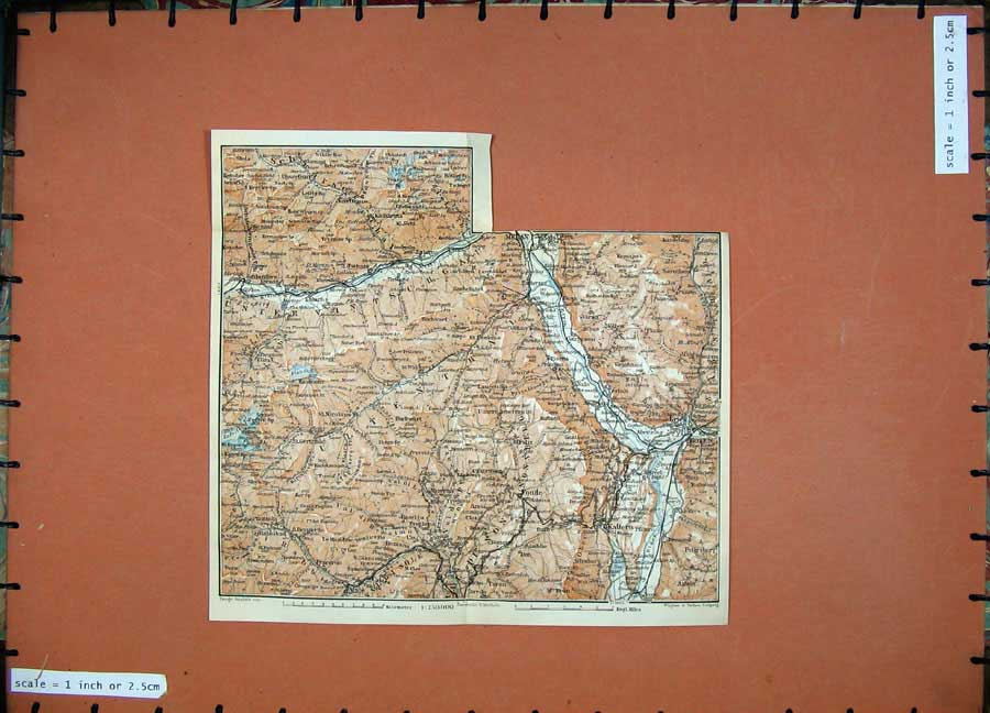 Print Bozen Kaltern Fondo 1911 Colour Map Baedeker 143D152 Old Original