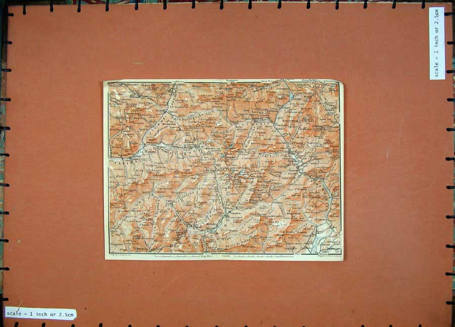 Print 1911 Olour Map Predazzo Fiera Karl Baedeker 148D152 Old Original