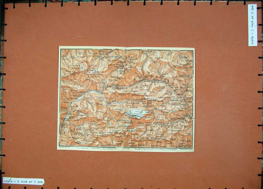 Print 1911 Colour Map Marmolata Rocca Pietore Atlas 149D152 Old Original