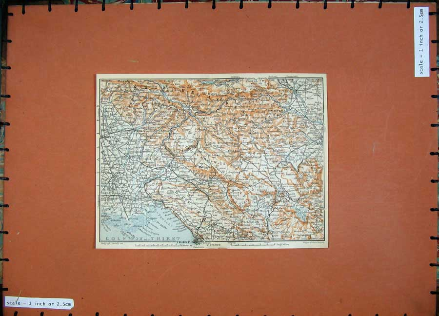 Print 1911 Colour Map Krainburg Zirknitz Baedeker 156D152 Old Original