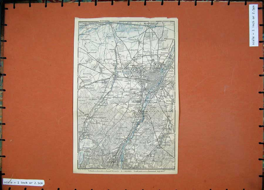 Print 1911 Colour Map Nymphenburg Pasing Atlas Karl Baedeker 158D152 Old Original