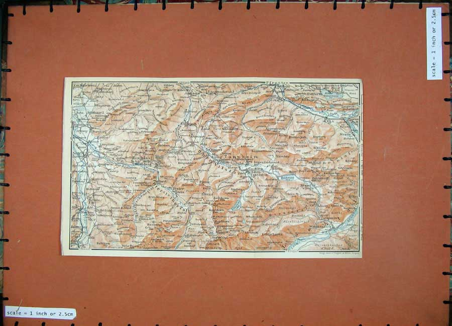 Print Colour Map 1911 Tanheim Hindelang Karl Baedeker Atlas 160D152 Old Original