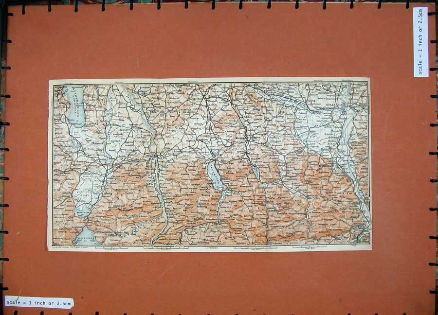 Print 1911 Colou Map Rosenhelm Isar River Kalr Baedeker Atlas 162D152 Old Original