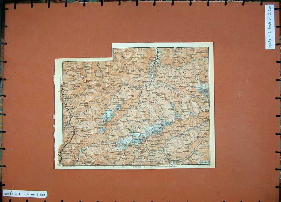 Print 1911 Colour Map Tuxerth Wippthal Karl Baedeker Atlas 166D152 Old Original