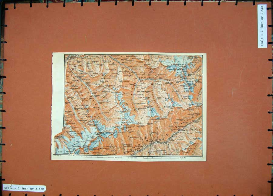Print 1911 Colour Map Zillergrund St Peter Prettau Baedeker 167D152 Old Original