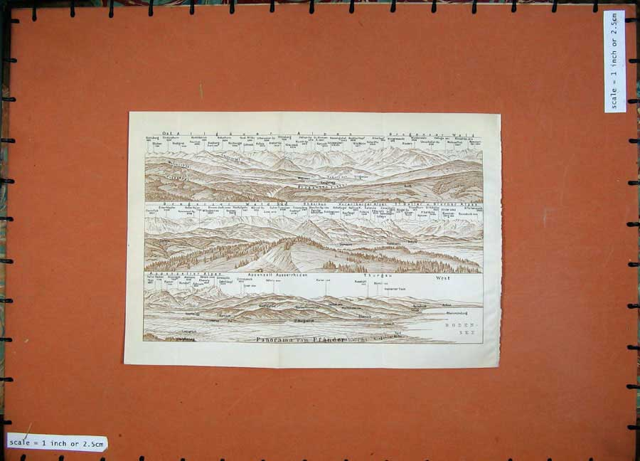 Print Colour Map Mountains 1911 Bregenzer Karl Baedeker 168D152 Old Original