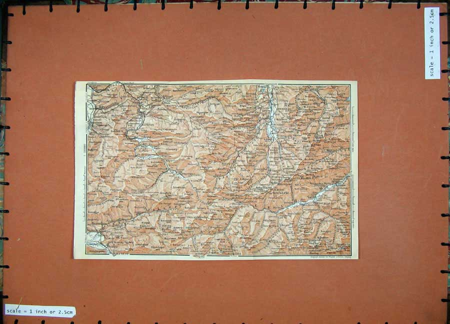 Print 1911 Colour Map Oberstdorf Hohes Licht Karl Baedeker 169D152 Old Original