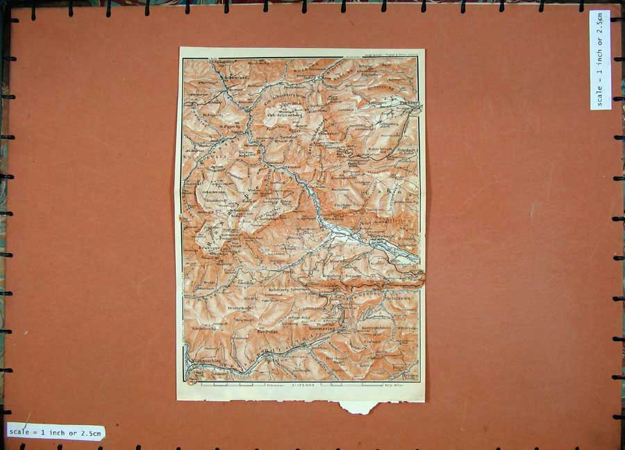 Print Colour Map 1911 Schottwien Spital Heukeppe Baedeker 177D152 Old Original