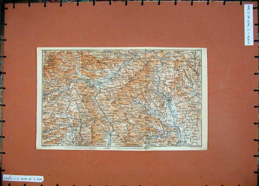 Print Graz 1911 Colour Map Judenburg Knittelfield Baedeker 180D152 Old Original