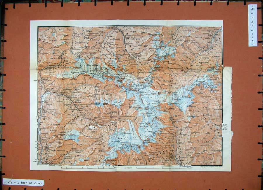Print 1911 Colour Map Val Zebru Furva Bormio Martell Thal 182D152 Old Original