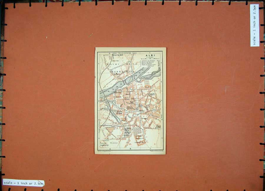 Print Albi Street Plan Tarn River 1907 Southern France Map 115D153 Old Original