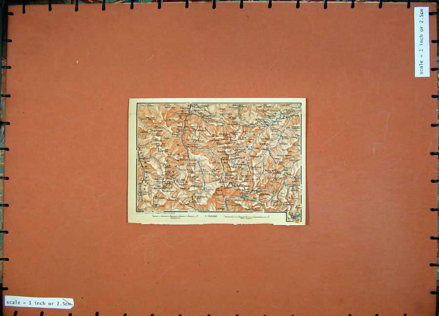 Print 1907 Colour Map Southern France Mountains Karl Baedeker 119D153 Old Original