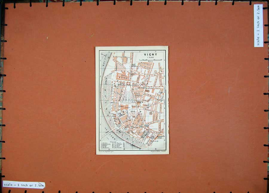Print 1907 Colour Map Vichy Southern France Karl Baedeker 123D153 Old Original