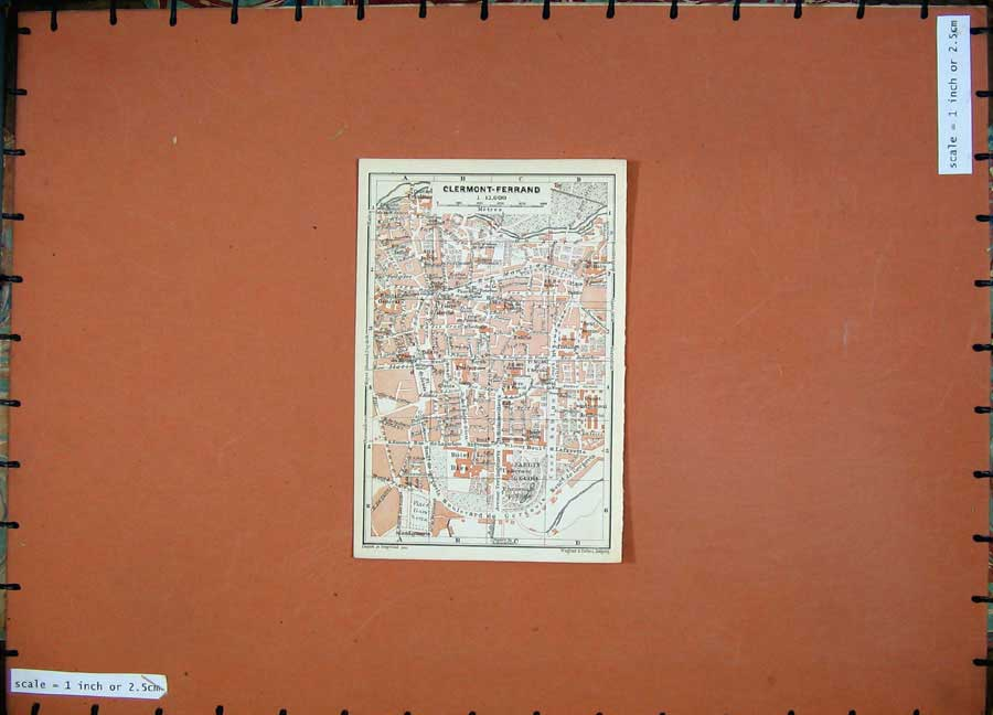 Print Clermont Ferrand 1907 Colour Map Southern France Plan 124D153 Old Original
