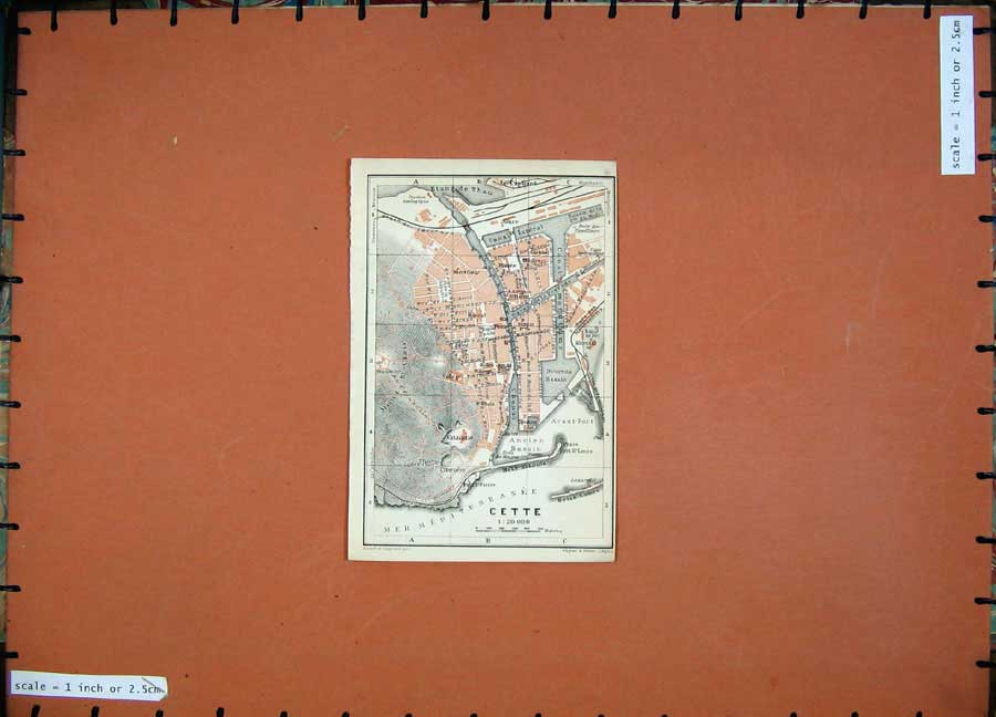 Print 1907 Colour Map Cette Street Plan Southern France Atlas 130D153 Old Original