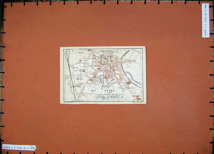 Print 1907 Colour Map Bourg Southern France Europe Baedeker 131D153 Old Original