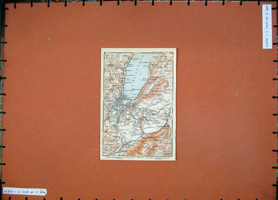 Print 1907 Colour Map Geneve Southern France Karl Baedeker 132D153 Old Original