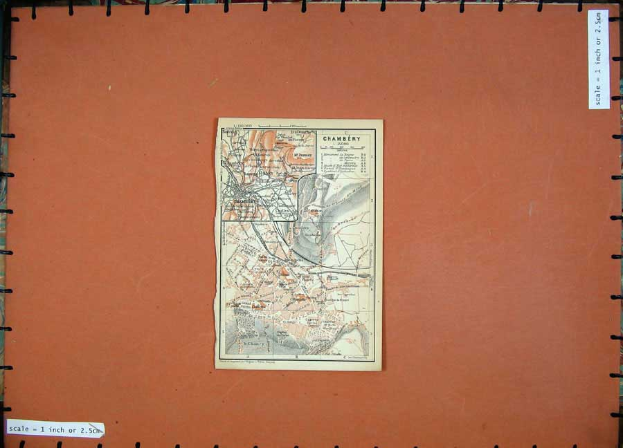 Print Chambery 1907 Colour Map Street Plan Southern France 133D153 Old Original