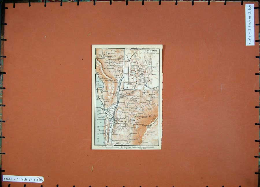 Print Aix-Les-Bains 1907 Colour Map South France Street Plan 134D153 Old Original