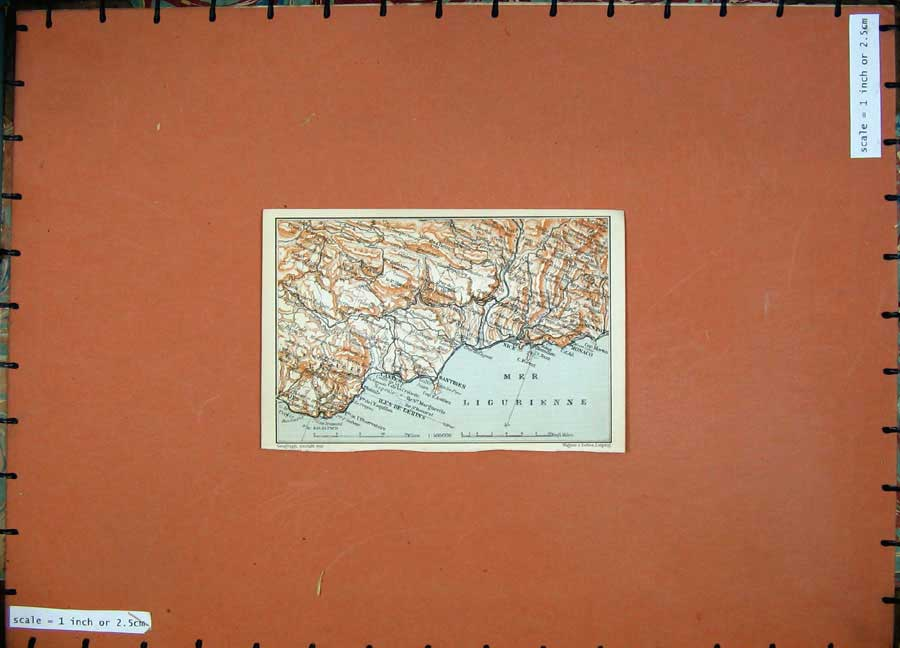 Print 1907 Colour Map Southern France Europe Antibes Atlas 141D153 Old Original