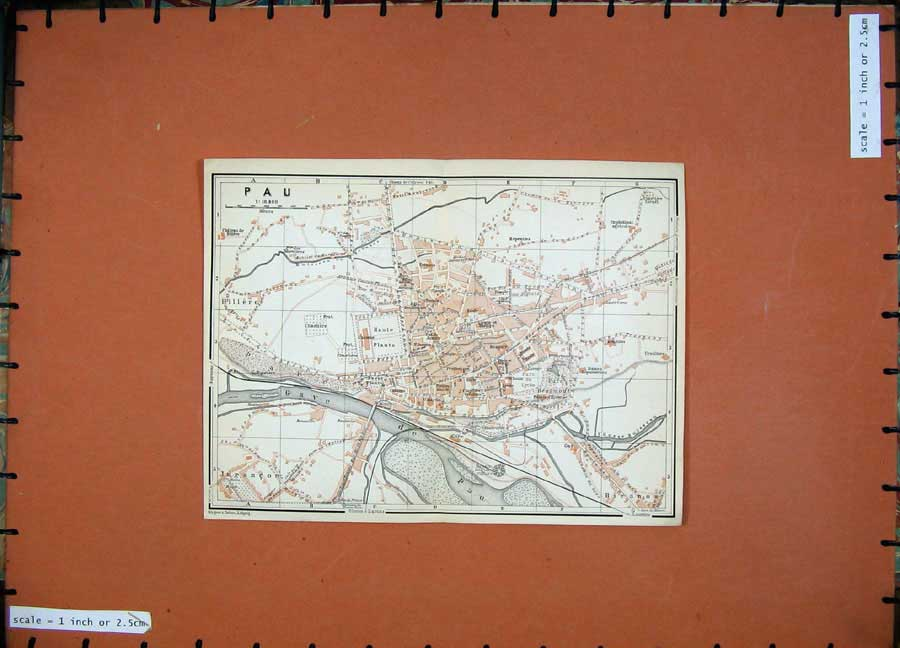 Print 1907 Colour Map Street Plan Pau Southern France Gave 143D153 Old Original
