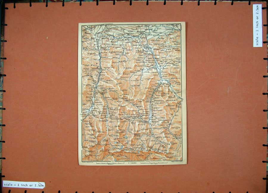 Print 1907 Colour Map Southern France St Bertrand Europe 145D153 Old Original