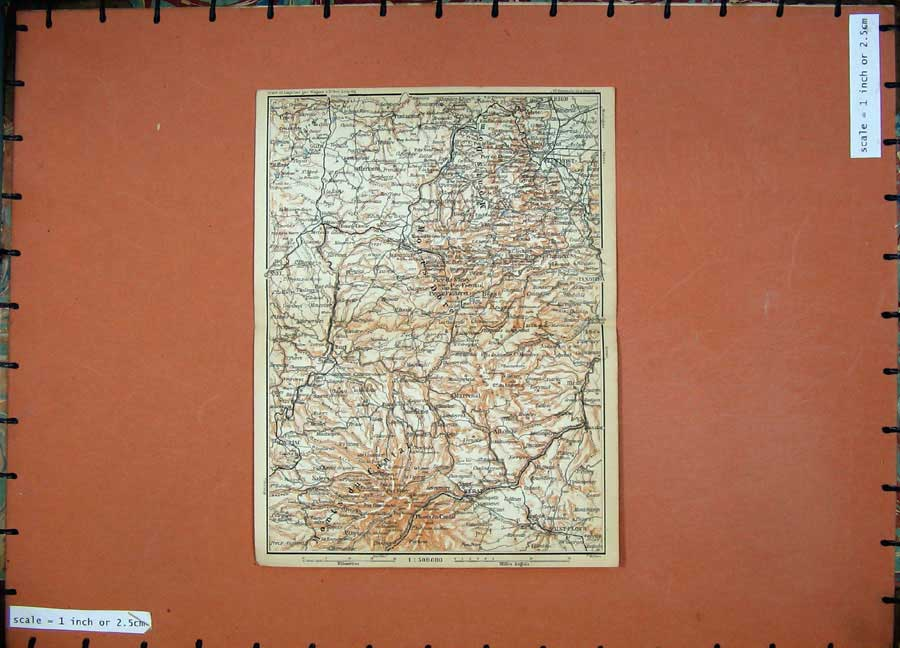 Print 1907 Colour Map Merat Ulermont Ussel Southern France 147D153 Old Original