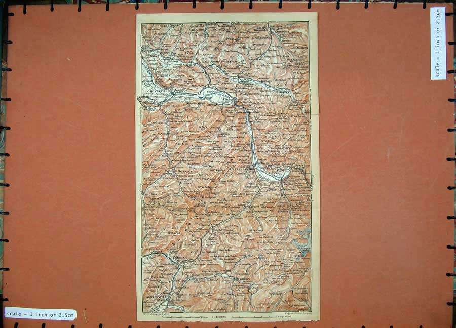 Print Colour Map 1907 Cluses Honneville Southern France Karl 156D153 Old Original