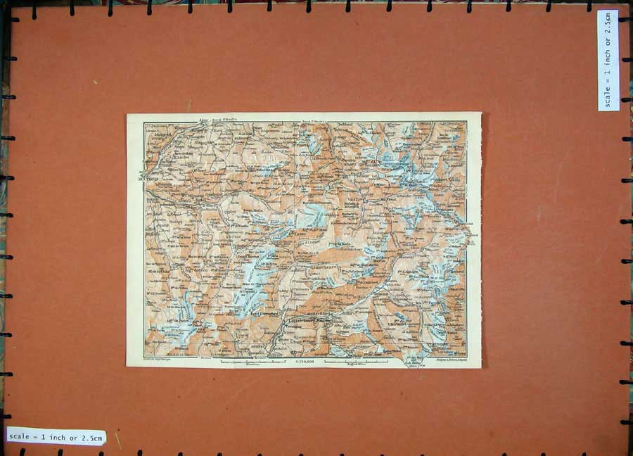 Print Lanslebourgh Colour Map 1907 Sassiere Southern France 159D153 Old Original