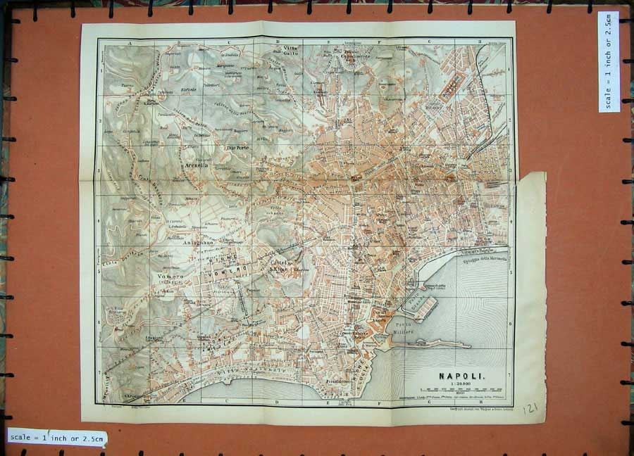 Print 1896 Colour Map Italy Street Plan Napoli Castel S.Elmo 121D154 Old Original