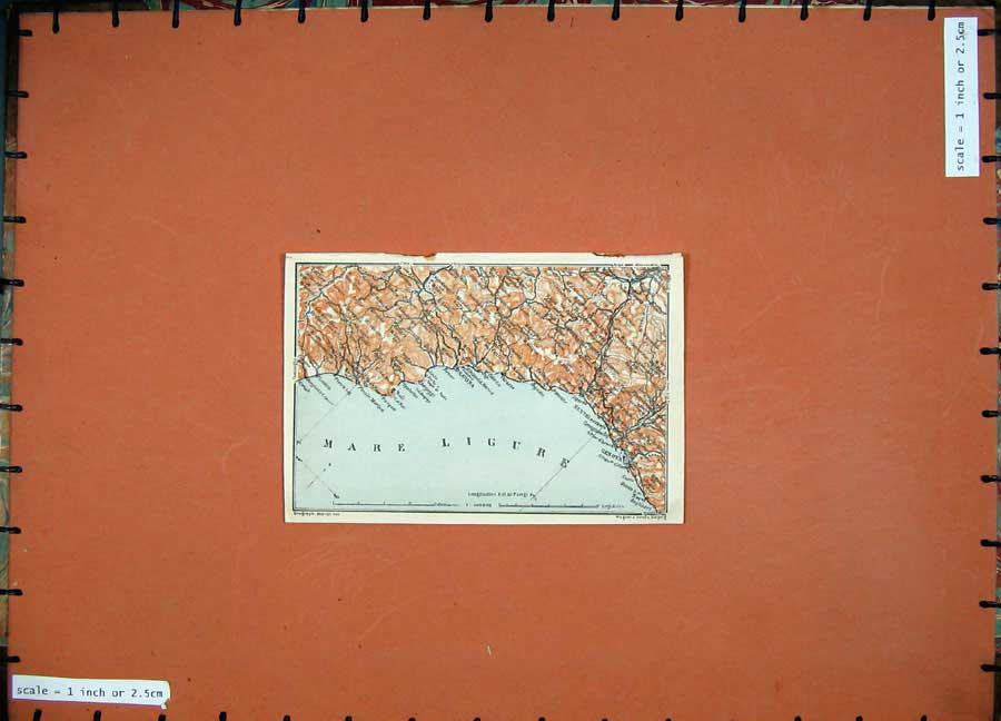 Print 1909 Colour Map Italy Savona Genova Sestri Mare Ligure 107D155 Old Original