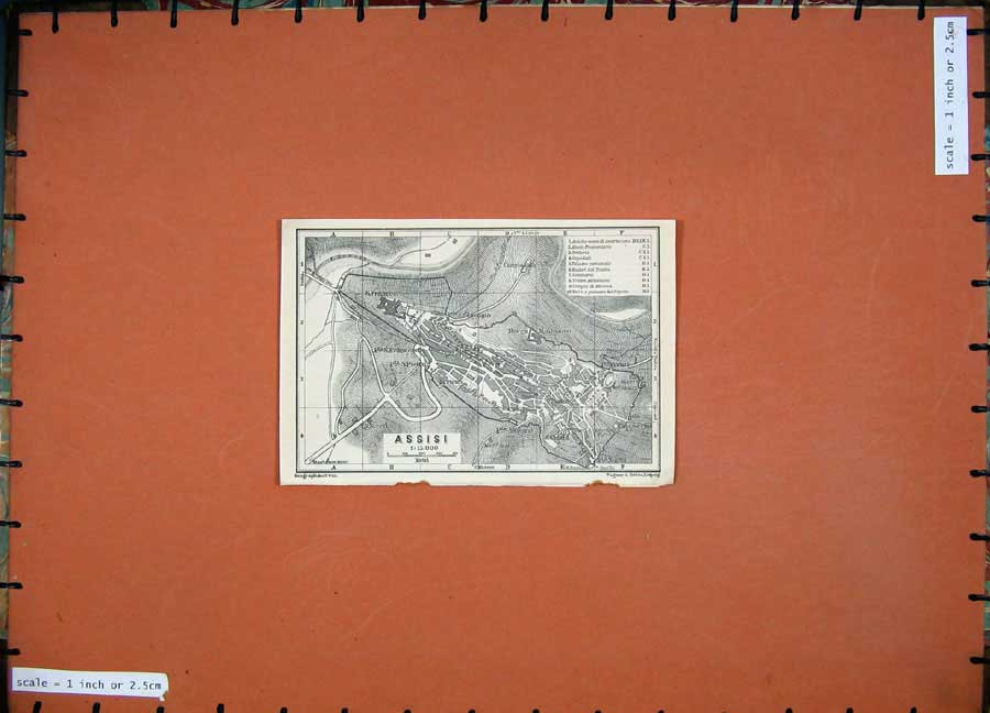 Print 1909 Map Italy Street Plan Assisi Rocca Maggiore 110D155 Old Original