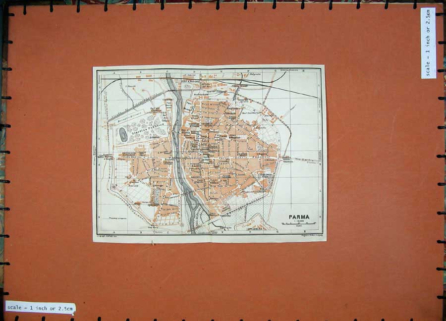 Print 1909 Colour Map Italy Street Plan Parma Cittadella 124D155 Old Original