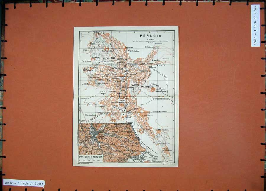 Print 1909 Colour Map Italy Street Plan Perugia Cupa Bucaccio 128D155 Old Original