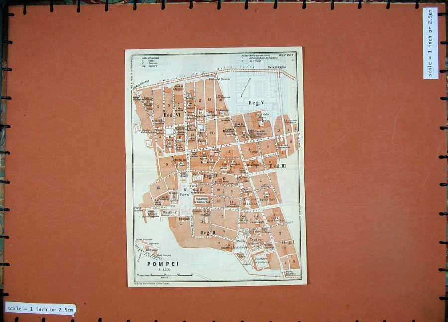 Print 1909 Colour Map Italy Street Plan Pompei Piano Sinistra 136Rd155 Old Original