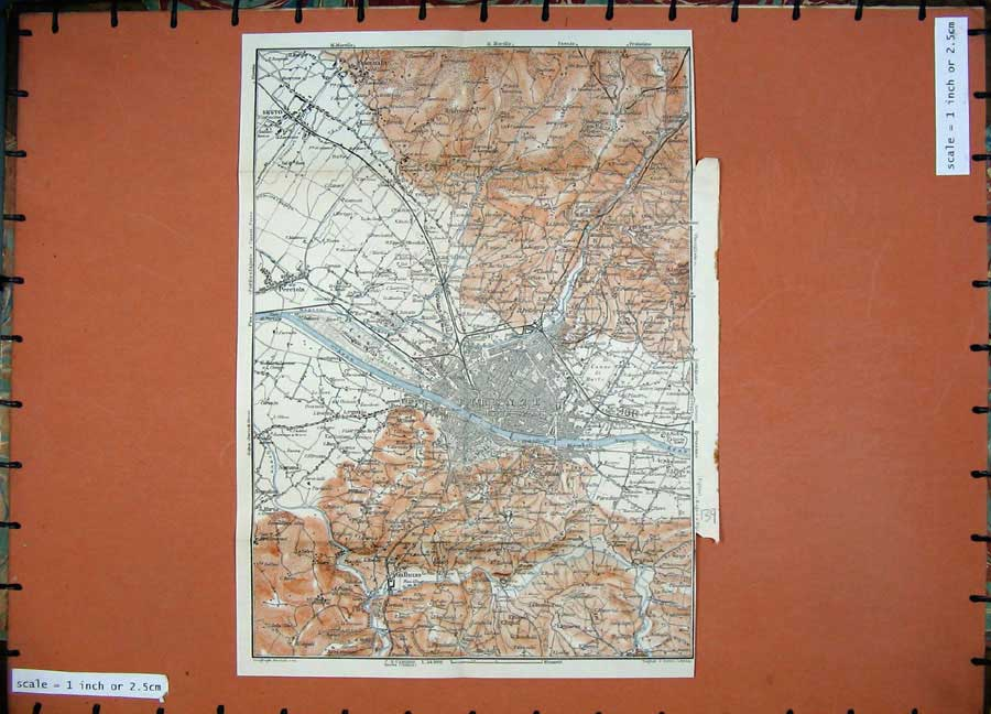Print 1909 Colour Map Italy Plan Firenze Galluzzo Sesto 139D155 Old Original