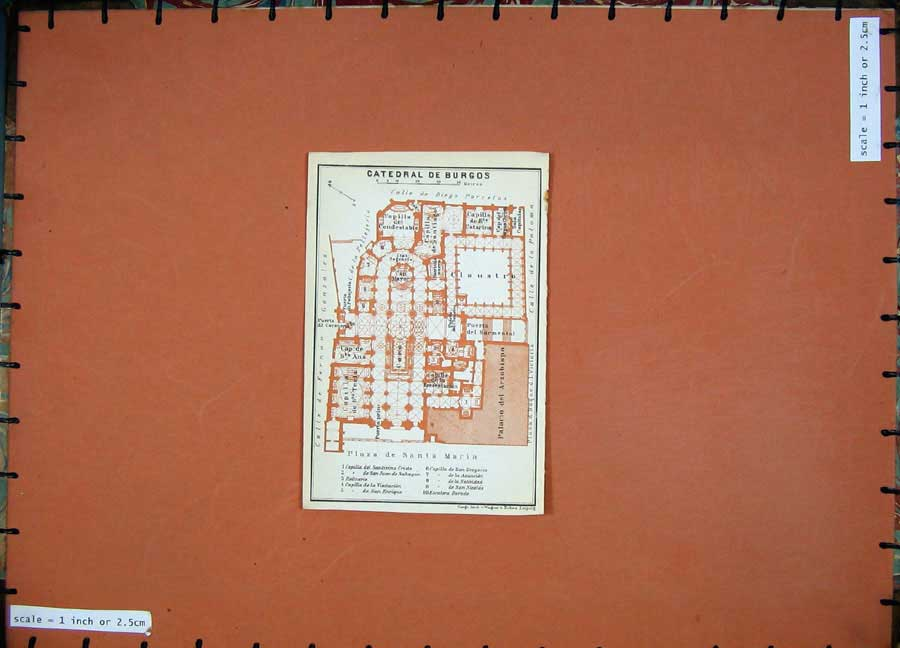 Print 1913 Colour Map Spain Plan Catedral De Burgos Santa 104D156 Old Original