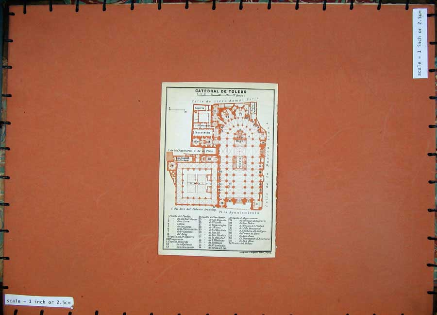 Print 1913 Colour Map Spain Plan Catedral De Toledo Claustro 110D156 Old Original