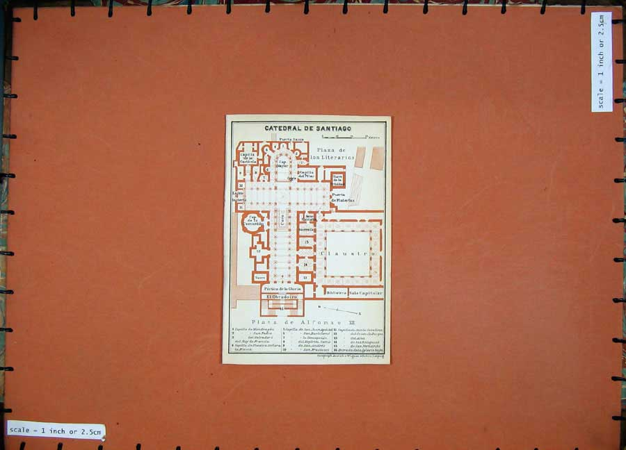 Print 1913 Colour Map Spain Plan Catedral De Santiago Church 116D156 Old Original