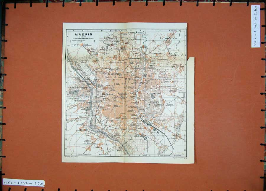 Print 1913 Colour Map Spain Street Plan Madrid Prosperidad 141D156 Old Original