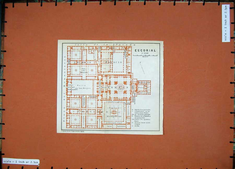 Print 1913 Colour Map Spain Plan Escorial Palacio Colegio 142D156 Old Original
