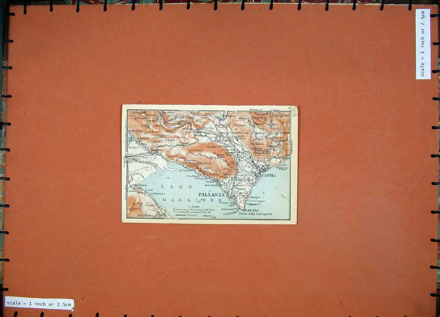 Print 1930 Colour Map Italy Stresa Baveno Intra Pallanza Lago 101Rd157 Old Original