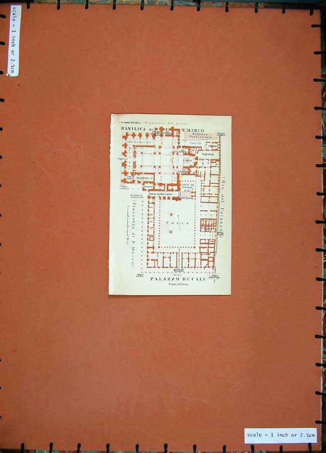 Print 1930 Colour Map Italy Plan Palazzo Ducale Basilica 102Rd157 Old Original