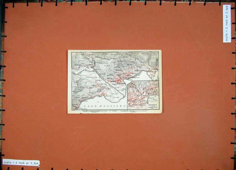 Print 1930 Colour Map Italy Street Plan Locarno Verscio Lago 108D157 Old Original
