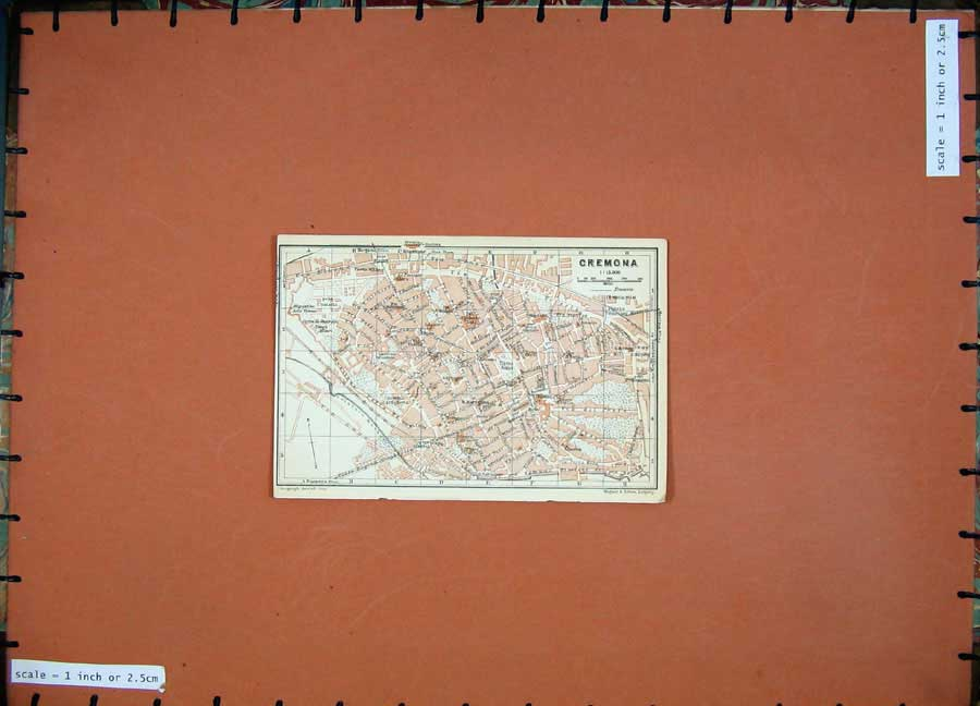Print 1930 Colour Map Italy Street Plan Cremona Porta Milano 110D157 Old Original